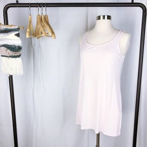 Eileen Fisher Long Scoop Neck Silk Cami In Pink